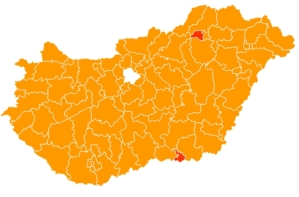 Individual electoral-district winners outside Budapest: orange=Fidesz candidates; red=Change of Government candidates.