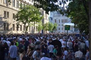 A couple-three thousand demonstrators on Alkotmány Street.