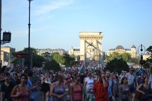 Marching across the Chain Bridge.