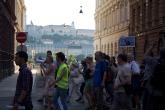 Demonstrators march to Danube on their way to Magyar Telekom headquarters.