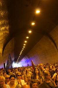 Marching through the Castle Hill tunnel.