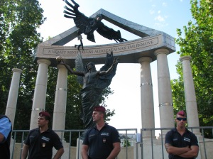 Police protecting the newly completed memorial (Orange Files photo).