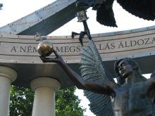 Archangel Michael holding the gglobus cruciger of the Kingdom of Hungary.