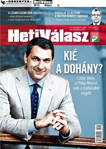 """Who's Got the Tobacco?"": Prime Minister's Office chief János Lázár on the cover of the weekly Heti Válasz."