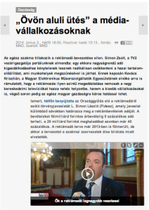 June 2, 2014 on-line issue of Magyar Nemzet: ""