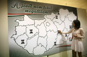 Marking party victories at the Jobbik municipal-election headquarters on October 12.