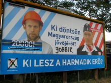 """""""Who Should Decide on Hungary's Future?"""" Liberal-party campaign sign for 2009 European Parliament elections (5/10/2009)."""