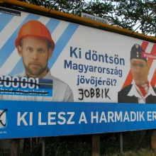 """Who Should Decide on Hungary's Future?"" Liberal-party campaign sign for 2009 European Parliament elections (5/10/2009)."
