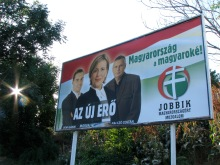 """""""Hungary Belongs to the Hungarians!"""" Jobbik campaign sign for 2009 European Parliament elections (6/3/2009)."""