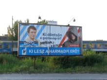 """Who Should Decide on Hungary's Economy?"" Liberal-party campaign sign for 2009 European Parliament elections (5/10/2009)."
