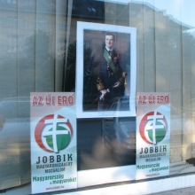 Portrait of interwar head of state Miklós Horthy displayed in window of Jobbik party office (6/12/2009).
