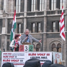 László Gonda speaks at anti-government demonstration outside the Hungarian Parliament Building in 2009.
