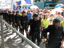 Column of riot cops protecting participants in the annual Budapest Pride parade from anti-gay demonstrators (7/5/2008).