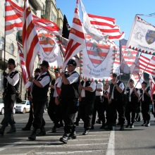 Hungarian Guard marching with Árpád-striped and other flags during protest of the 1920 Treaty of Trianon (6/13/2009).