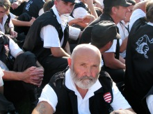 Members of the newly banned Hungarian Guard sit in passive resistance to arrest (7/4/2009).