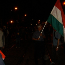 Roman Catholic priest leading anti-government demonstration on the 50th anniversary of the 1956 Hungarian Revolution (10/23/2006)