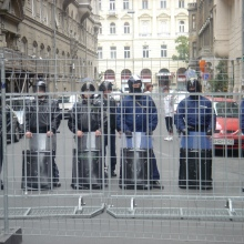 Riot cops block street near the Hungarian Parliament Building on the 50th anniversary of the 1956 Hungarian Revolution (10/23/2006).