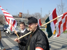 Anti-government demonstrators en route to disrupt the official commemoration of the March 15 national holiday at the National Museum (3/15/2007).