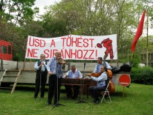 """""""Smash the Capitalists. Don't Lament!"""" Gypsy quintet plays at the Workers' Party May Day celebration (5/1/2008)."""