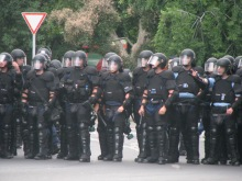 Riot cops protect participants in Budapest Pride parade from anti-gay demonstrators (7/5/2008).