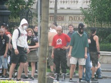 Anti-gay demonstrators confront riot police at annual Budapest Pride parade (7/5/2008).