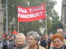 """""""Never Again Fascism!"""" Participants in demonstration against racism and intolerance (9/20/2008)."""