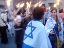 Participants in the March of Life Holocaust-remembrance procession (4/15/2007).