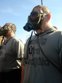 Members of We Ourselves wearing gas masks during anti-government demonstration on Heroes' Square (4/21/2007).