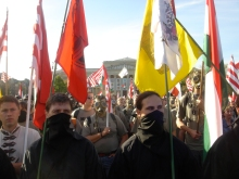 Members of We Ourselves (Mi Magunk) and the 64 Counties Youth Movement at anti-government demonstration on Heroes' Square (4/21/2007).