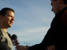 László Toroczkai speaks to Hír TV reporter after anti-government demonstration on Heroes' Square (4/21/2007).