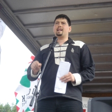 Jobbik Vice-President Csanád Szegedi speaks at annual 64 Counties Youth Movement Treaty of Trianon protest (6/3/2007).