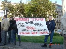"""Communist Terror. 1919, 1945, 1956, 2006. God Forgives. The Hungarian People Do Not."" Anti-goverment demonstrators (5/9/2007)."