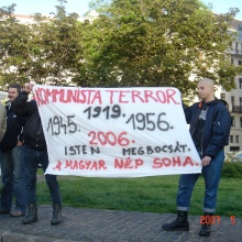 """Communist Terror. 1919, 1945, 1956, 2006. God Forgives. The Hungarian People Do Not."" Anti-goverment demonstrators (5/9/2007)."