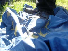 Trampling the EU flag at Jobbik May Day celebration (4/30/2007).