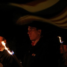 Hungarian Guard member at torchlight protest against Gypsy crime (1/18/2008).