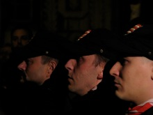Hungarian Guard leaders at torchlight protest of Gypsy crime (1/18/2008).