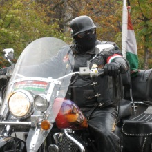 Gentile Biker leader preparing to depart on 1956 Hungarian Revolution rally (10/23/2008).