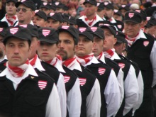 New Hungarian Guard members stand in rank at an organizational initiation ceremony (10/21/2007).