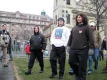 György Budaházy and followers arrive to disrupt Budapest Mayor Gábor Demszky's annual March 15 speech (3/15/2008).