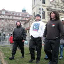 György Budaházy and followers arrive to disrupt Budapest Mayor Gábor Demszky's annual March 15 speech (3/15/2008).