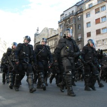 Riot cops arrive to pacify anti-gay demonstrators at the Budapest Pride parade (9/5/2009).