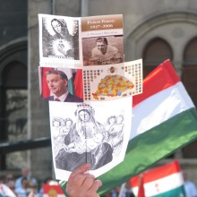 The Virgin Mary, Hungarian footballer Ferenc Puskás, Viktor Orbán, Greater Hungary and Mary with baby Jesus. Composite sign at pro-Orbán rally (5/29/2010).
