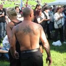 Man with Greater Hungary tattoo at 64 Counties Youth Movement protest of the 1920 Treaty of Trianon (6/13/2009).