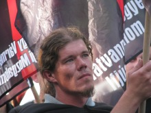 Member of the 64 Counties Youth Movement at organization's annual protest of the 1920 Treaty of Trianon (6/13/2009).