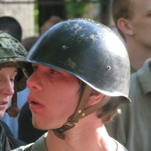 Young paramilitary at demonstration against the banning of the Hungarian Guard (7/4/2010).