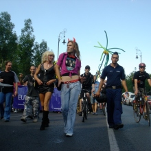 Participants in the annual Budapest Pride parade (7/7/2007).