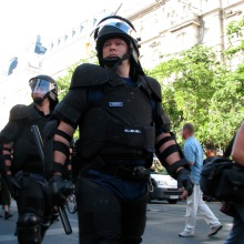 Riot cops protect participants in Budapest Pride parade from anti-gay demonstrators (7/7/2007).