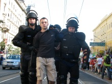 Riot cops detain anti-gay demonstrator at the Budapest Pride parade (7/7/2007).