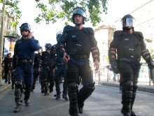 Riot cops protect participants in Budapest Pride parade from anti-gay demonstrators (7/7 2007).