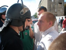 Confrontation between cop and anti-gay demonstrator during the annual Budapest Pride parade (7/7/2007).